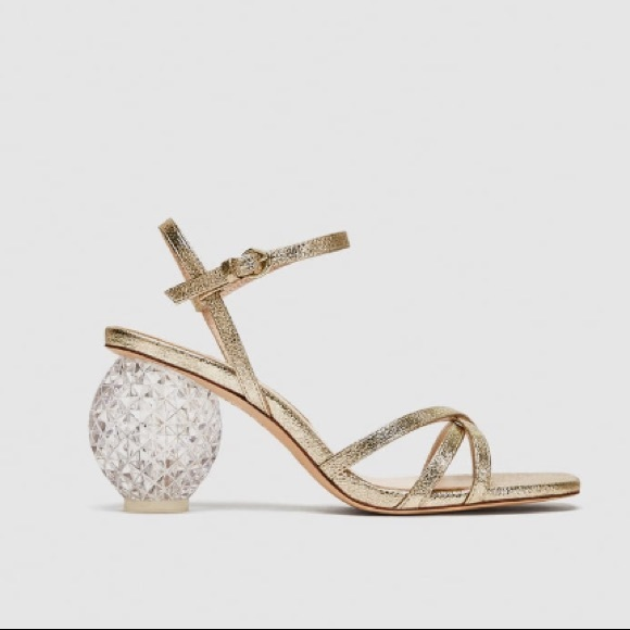 177d474bd58 Zara gold block heel sandal